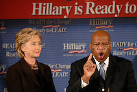 ATLANTA, GA - October 12, 2007: Georgia Representative and civil rights leader John Lewis announces his endorsement of Hillary Clinton in the Democratic presidential nomination race at Pascals restaurant in Atlanta, Georgia. <br /> <br /> In late, February 2008 Lewis dropped his endorsement for Clinton and instead announced he was for Barack Obama.