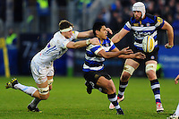 Ben Tapuai of Bath Rugby passes the ball. Aviva Premiership match, between Bath Rugby and Exeter Chiefs on December 31, 2016 at the Recreation Ground in Bath, England. Photo by: Patrick Khachfe / Onside Images