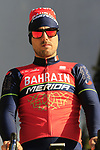 Sonny Colbrelli (ITA) Bahrain-Merida team on stage at sign on before the 101st edition of the Tour of Flanders 2017 running 261km from Antwerp to Oudenaarde, Flanders, Belgium. 26th March 2017.<br /> Picture: Eoin Clarke | Cyclefile<br /> <br /> <br /> All photos usage must carry mandatory copyright credit (&copy; Cyclefile | Eoin Clarke)