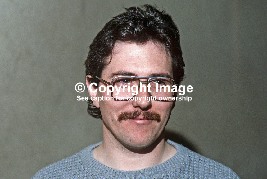 Richard McAuley, Belfast, N Ireland, prominent member, Provisional Sinn Fein. 19840131RMA1.<br /> <br /> Copyright Image from Victor Patterson,<br /> 54 Dorchester Park, Belfast, UK, BT9 6RJ<br /> <br /> t1: +44 28 90661296<br /> t2: +44 28 90022446<br /> m: +44 7802 353836<br /> <br /> e1: victorpatterson@me.com<br /> e2: victorpatterson@gmail.com<br /> <br /> For my Terms and Conditions of Use go to<br /> www.victorpatterson.com