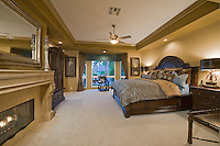 Luxurious master bedroom with fireplace and elegant classic furniture