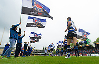 Rhys Priestland and the rest of the Bath Rugby team run out onto the pitch. Aviva Premiership match, between Bath Rugby and Gloucester Rugby on April 30, 2017 at the Recreation Ground in Bath, England. Photo by: Patrick Khachfe / Onside Images