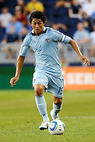 Roger Espinoza (15) midfielder Sporting KC in action... Sporting Kansas City defeated Portland Timbers 3-1 at LIVESTRONG Sporting Park, Kansas City, Kansas.