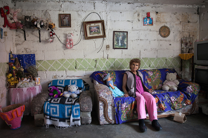 Victoria, a resident of Casa Xochiquetzal, at her family's house in Pachuca, a city located an hour northeast of Mexico City, Mexico on June 26, 2013. Casa Xochiquetzal is a shelter for elderly sex workers in Mexico City. It gives the women refuge, food, health services, a space to learn about their human rights and courses to help them rediscover their self-confidence and deal with traumatic aspects of their lives. Casa Xochiquetzal provides a space to age with dignity for a group of vulnerable women who are often invisible to society at large. It is the only such shelter existing in Latin America. Photo by Bénédicte Desrus