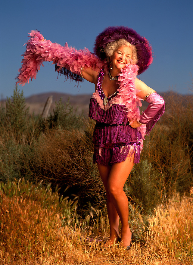 Legendary Burlesque dancer Miss Lizzy Mauk photographed at Exotic World in Helendale, Calfornia at the annual Stippers Convention on April 24, 1993