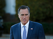 Mitt Romney speaks to the media after meeting with President-elect Donald Trump at the clubhouse of Trump International Golf Club, November 19, 2016 in Bedminster Township, New Jersey. <br /> Credit: Aude Guerrucci / Pool via CNP