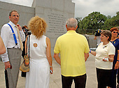 Washington, D.C. - June 29, 2005 --  Members of the Coalition of 9/11 Families visits the World War Two Memorial in Washington, D.C. on June 29, 2005.   They are in Washington to lobby against the International Freedom Center (IFC).  From left to right:  Charles Wolf, Edie Lutnick, Bill Doyle, Diane Horning, Lois Diehl.<br /> Credit: Ron Sachs / CNP