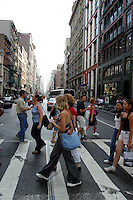 16 August 2002: Broadway is back to normal foot traffic one year later after a Terrorist attack on the America's.  Lower Manhattan, NY. Area surrounding ground zero where the World Trade Centers WTC once stood only hours after they fell to the ground in New York.  Islamic terrorist Osama bin Laden declares The Jihad or Holy War against The United States of America on September 11, 2001. Headline news photos available for editorial use.