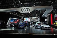 NEW YORK, NY - APRIL 12: Audi cars sit on display at the New York International Auto Show, at the Jacob K. Javits Convention Center on April 12, 2017 in Manhattan, New York. Photo by VIEWpress/Eduardo MunozAlvarez