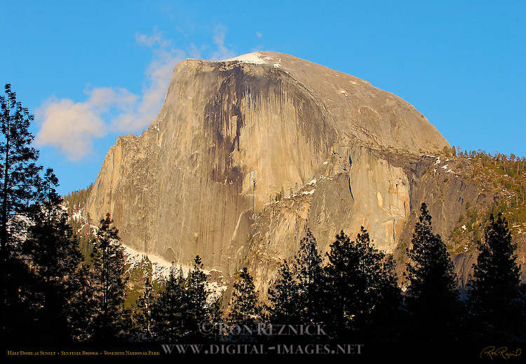 Half Dome at Sunset in March from Sentinel Bridge, Yosemite Valley, Yosemite National Park