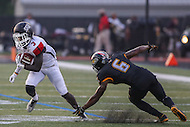 Towson, MD - September 9, 2016: St. Francis (Pa) Red Flash wide receiver Junior Ajayi (3) avoids Towson Tigers defensive back Troy Jeter (6) tackle during game between Towson and St. Francis at Minnegan Field at Johnny Unitas Stadium  in Towson, MD. September 9, 2016.  (Photo by Elliott Brown/Media Images International)