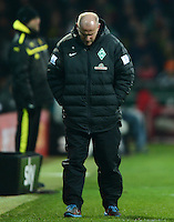 FUSSBALL   1. BUNDESLIGA   SAISON 2012/2013    18. SPIELTAG SV Werder Bremen - Borussia Dortmund                   19.01.2013 Trainer Thomas Schaaf (SV Werder Bremen)  ist enttaeuscht