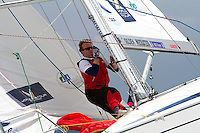 YANMAR Racing bowman Martin Berntson in action on day 2 of Match Race Germany. World Match Racing Tour. Langenargen, Germany. 21 May 2010.