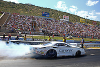 Jul. 21, 2013; Morrison, CO, USA: NHRA pro stock driver Shane Gray during the Mile High Nationals at Bandimere Speedway. Mandatory Credit: Mark J. Rebilas-