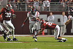 Ole Miss wide receiver Jesse Grandy (10) runs past Alabama defensive back DeMarcus Milliner (28) at Bryant-Denny Stadium in Tuscaloosa, Ala.  on Saturday, October 16, 2010. Alabama won 23-10.