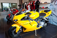 Ducati 1098 motorcycle in dealership showroom in Worli district of Mumbai, formerly Bombay, Maharashtra, India