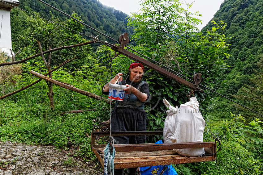 A beekeeper puts the containers on a traditionally-made cable car. On the abrupt slopes of the valley, the houses on the heights are connected to the route by cable cars for transporting honey and the tea harvest. ///Une apicultrice installe les bidons de miel sur un t&eacute;l&eacute;ph&eacute;rique artisanal. Sur les pentes abruptes de la vall&eacute;e, les maisons sur les hauteurs sont reli&eacute;es &agrave; la route par des t&eacute;l&eacute;ph&eacute;riques pour transporter miel, et les r&eacute;coltes de th&eacute;. <br /> <br /> World&rsquo;s Most Expensive Honey 59/71<br /> On the Anzer Plateau, the apiaries are protected from the Eurasian brown bear (Ursus arctos arctos) by an electric fence. The bear population in Turkey is estimated to be between 3000 and 5000.<br /> Sur le plateau d&rsquo;Anzer, les ruchers sont prot&eacute;g&eacute;s des ours brun d&rsquo;Eurasie (Ursus arctos arctos) avec une cl&ocirc;ture &eacute;lectrique. La population des ours est estim&eacute;e de 3000 &agrave; 5000 en Turquie.