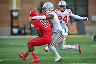 College Park, MD - NOV 12, 2016: Maryland Terrapins wide receiver Teldrick Morgan (19) is tackled by an Ohio State Buckeyes defender during game between Maryland and Ohio State at Capital One Field at Maryland Stadium in College Park, MD. (Photo by Phil Peters/Media Images International)
