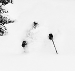 Skier in deep powder, Snocat skiing at Soldier Mountain near Sun Valley Idaho
