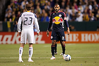 LA Galaxy midfielder David Beckham (23) face to face with New York Red Bulls forward Thierry Heny (14). The LA Galaxy and Red Bulls of New York played to a 1-1 tie at Home Depot Center stadium in Carson, California on  May 7, 2011....