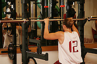 12 October 2005: Players working out in the weight room in Maples Pavilion in Stanford, CA. Pictured is Christy Titchenal.