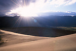 Sunrise over sand dunes and the Sangre de Cristo Mountains, Great Sand Dunes National Monument, Colorado