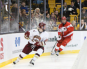Patch Alber (BC - 27), Alex Chiasson (BU - 9) - The Boston College Eagles defeated the Boston University Terriers 3-2 (OT) in their Beanpot opener on Monday, February 7, 2011, at TD Garden in Boston, Massachusetts.