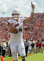 HAWGS ILLUSTRATED JASON IVESTER --08/30/2014--<br /> Arkansas sophomore tight end Hunter Henry celebrates as he gets into the end zone for a touchdown reception during the first quarter on Saturday, Aug. 30, 2014, against Auburn at Jordan-Hare Stadium in Auburn, Ala.