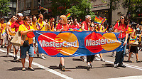 MasterCard marchers in the 43rd annual Lesbian, Gay, Bisexual and Transgender Pride Parade on Fifth Avenue in New York on Sunday, June 24, 2012. The parade took place on the one year anniversary of the legalization of gay marriage in New York.  (© Richard B. Levine)