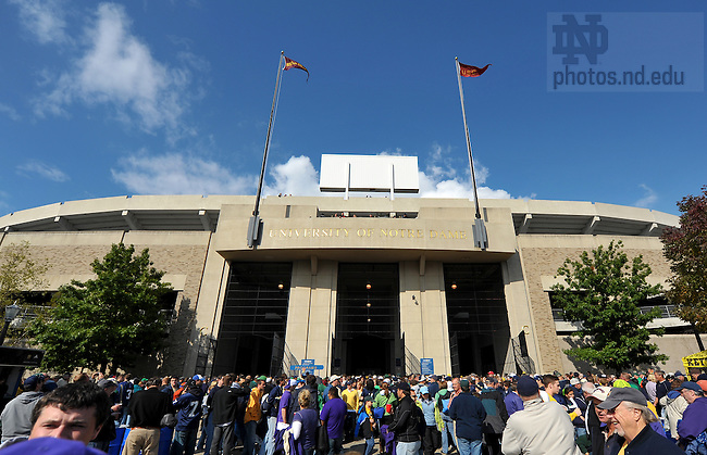 Oct. 3, 2009; South Bend, IN, USA; The south entrance of Notre Dame Stadium on gameday.