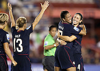 Shannon Boxx of USA (center) celebrates with Yael Averbuch (right).. USWNT defeated Costa Rica 4-0 in the 2010 CONCACAF Women's World Cup Qualifying tournament held at Estadio Quintana Roo in Cancun, Mexico on November 1st, 2010.