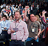 Labour Party Conference <br /> Day 4<br /> 30th September 2015 <br /> Brighton Centre, Brighton, East Sussex <br /> <br /> delegates singing The Red Flag at closing ceremony - wearing Che grave t-shirt crying <br /> <br />  <br /> Photograph by Elliott Franks <br /> Image licensed to Elliott Franks Photography Services