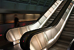 Escalator and train in the Washington DC Metro