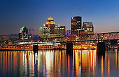 Louisville Skyline at dusk, Kentucky, USA.