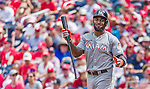 30 August 2015: Miami Marlins outfielder Marcell Ozuna in action against the Washington Nationals at Nationals Park in Washington, DC. The Nationals rallied to defeat the Marlins 7-4 in the third game of their 3-game weekend series. Mandatory Credit: Ed Wolfstein Photo *** RAW (NEF) Image File Available ***