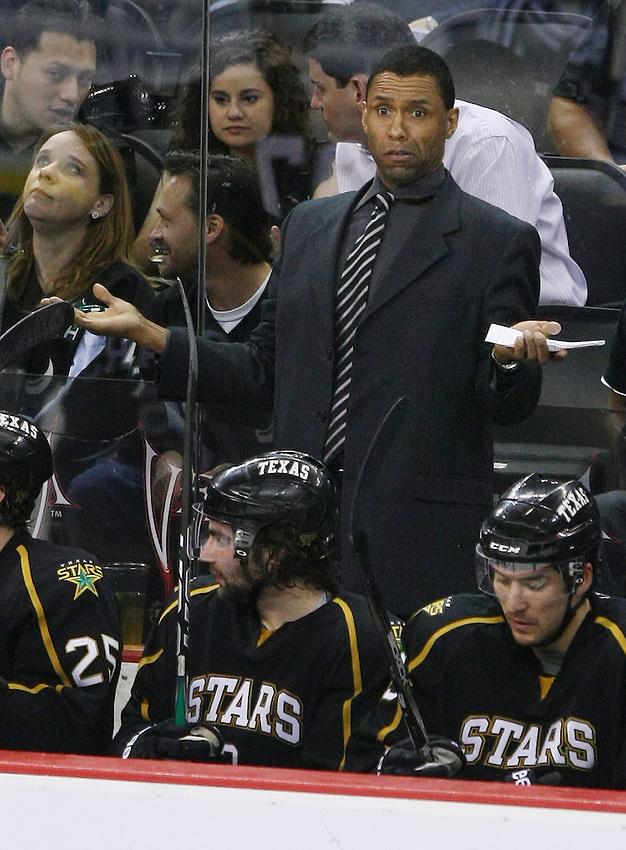 Texas Stars assistant coach Paul Jerrard behind the bench during an AHL hockey game against the San Antonio Rampage, Saturday, Feb. 26, 2011, in San Antonio. San Antonio won 3-2 in a shootout. (Darren Abate/pressphotointl.com)