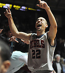 "Mississippi's Marshall Henderson (22) celebrates following a win over  Georgia at the C.M. ""Tad"" Smith Coliseum on Saturday, February 16, 2013. Mississippi won 84-74 in overtime. Henderson scored 25. (AP Photo/Oxford Eagle, Bruce Newman)"