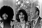 United States President Gerald R. Ford with George Harrison and Billy Preston in the Oval Office at the White House in Washington, D.C. on December 13, 1974.  <br /> Mandatory Credit: David Hume Kennerly / White House via CNP