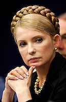 Ukrainian Prime Minister Yulia Tymoshenko holds a press conference, on March 11, 2008, at the end of a meeting of the Troika EU-Ukraine at EU headquarters in Brussels.   [&copy; by Wiktor Dabkowski] ....