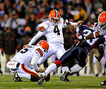 17 November 2008:  Cleveland Browns' place kicker Phil Dawson opens the scoring in the first quarter with a 41-yard field goal against the  Buffalo Bills at Ralph Wilson Stadium in Orchard Park, NY. The Browns defeated the Bills 29-27 in the Monday Night AFC matchup. *** Editorial Sales Only ****..Mandatory Photo Credit: Ed Wolfstein Photo
