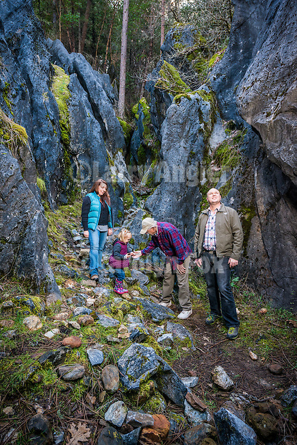 Black Chasm Cavern's &quot;Grotto&quot; limestone rocks with the extended Ginn-Fairchild families for the cover of the Amador Council of Tourism's 2017 Travel Planner.<br /> <br /> Aunt Mary, Steve and Linda Fairchild, Aaron, Heather and Alice Ginn.