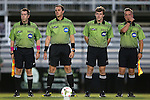 04 October 2014: Match officials. From left: Assistant referee Aaron Gallagher, referee Jeff Davis, fourth official Hudson Owens, and assistant referee Tyler McCauley. The Duke University Blue Devils hosted the University of Louisville Cardinals at Koskinen Stadium in Durham, North Carolina in a 2014 NCAA Division I Women's Soccer match. The game ended in a 0-0 tie after double overtime.