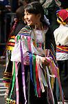 The Hispanic Parade in New York City. A girl representing Ecuador in the Hispanic Parade in New York City.