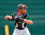 22 June 2009: Vermont Lake Monsters' catcher Rick Nolan warms up prior to facing the Tri-City ValleyCats at Historic Centennial Field in Burlington, Vermont. The Lake Monsters defeated the visiting ValleyCats 5-4 in extra innings. Mandatory Photo Credit: Ed Wolfstein Photo