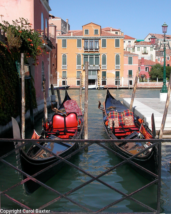 Decorated gondolas anchored off the Grand Canal