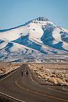 Walking on the highway toward the Ruby Range, Nevada