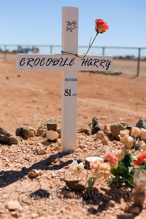 The grave of Crocodile Harry - an eccentric local and legend of Coober Pedy, South Australia, AUSTRALIA.