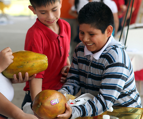 Students handle a large papaya.