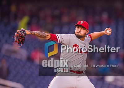 28 April 2016: Philadelphia Phillies pitcher Elvis Araujo on the mound against the Washington Nationals at Nationals Park in Washington, DC. The Phillies shut out the Nationals 3-0 to sweep their mid-week, 3-game series. Mandatory Credit: Ed Wolfstein Photo *** RAW (NEF) Image File Available ***