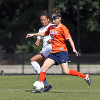 University of Virginia forward Lauren Alwine (9) passes the ball as Boston College midfielder/defender Casey Morrison (3) defends. Boston College defeated University of Virginia, 2-0, at the Newton Soccer Field, on September 18, 2011.